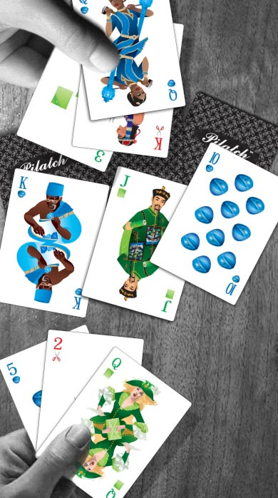 An example where two players each have a straight, Ten through King, but with different Queens. Your opponent has the Queen of Paper; you have the Queen of Rock; and the King of Scissors.